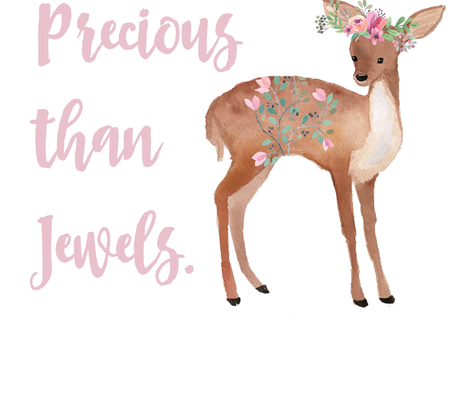 "2 to 3 Yards of 42"" Fabric / She is Far More Precious Than Jewels / Sweet Deer fabric by shopcabin on Spoonflower - custom fabric"