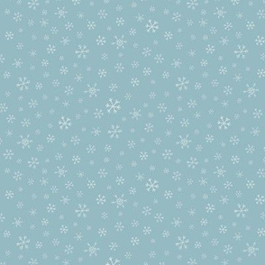 Snowflake Scatter on Soft Blue