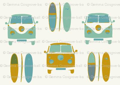retro vintage VW camper van and surf board (large scale)