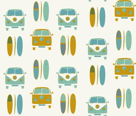 retro vintage VW camper van and surf board (large scale)  fabric by gemmacosgroveball on Spoonflower - custom fabric