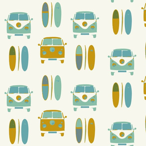 retro vintage VW camper van and surf board (large scale)