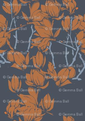 Magnolia florals in orange