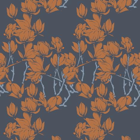 Magnolia florals in orange fabric by gemmacosgroveball on Spoonflower - custom fabric