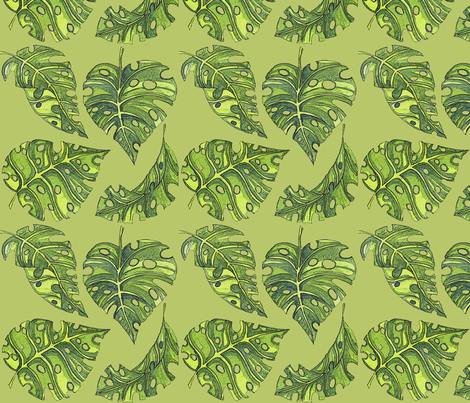 im a monstera green 8x8 fabric by leroyj on Spoonflower - custom fabric