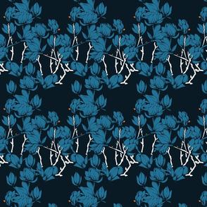 Magnolia florals in blue