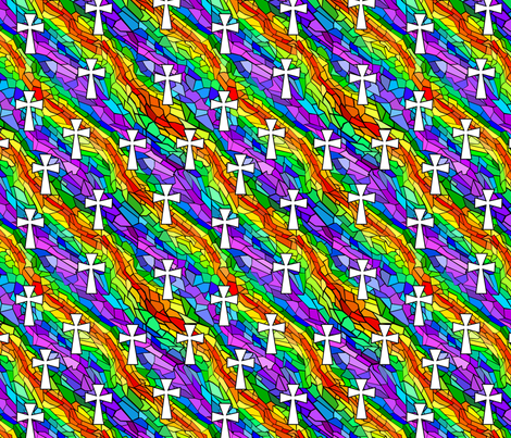 stained glass rainbow with white crosses fabric by pamelachi on Spoonflower - custom fabric