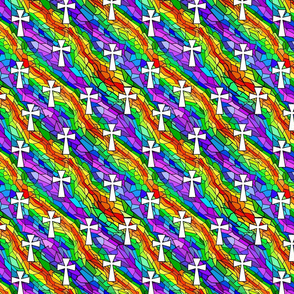 stained glass rainbow with white crosses