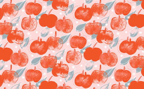 Apple Pick M+M Icing+Ruby by Friztin fabric by friztin on Spoonflower - custom fabric