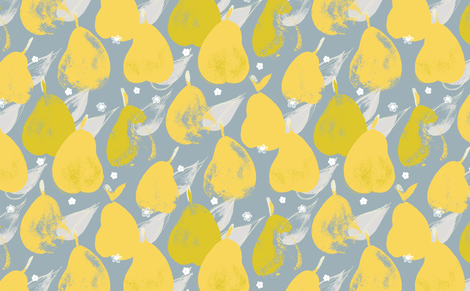 Pear Pick M+M Smoke+Yolk by Friztin fabric by friztin on Spoonflower - custom fabric