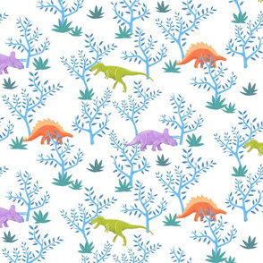 Large Dinosaurs on White