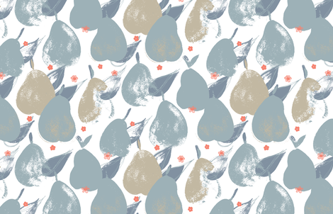 Pear Pick M+M Slate+Latte by Friztin fabric by friztin on Spoonflower - custom fabric