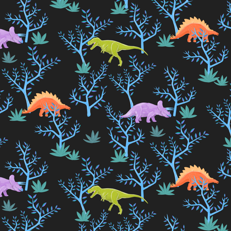 Small Dinosaurs on Slate fabric by landpenguin on Spoonflower - custom fabric