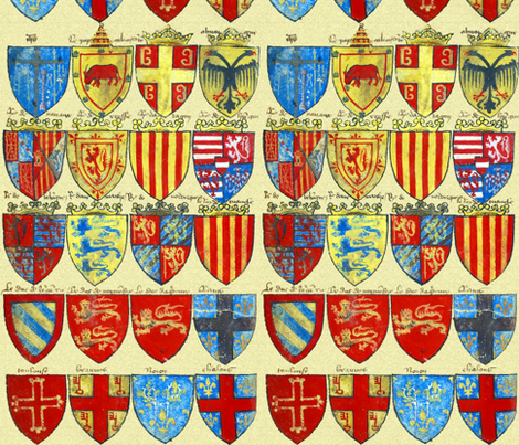 Knights of the Round Table ~ Bright ~Large fabric by peacoquettedesigns on Spoonflower - custom fabric