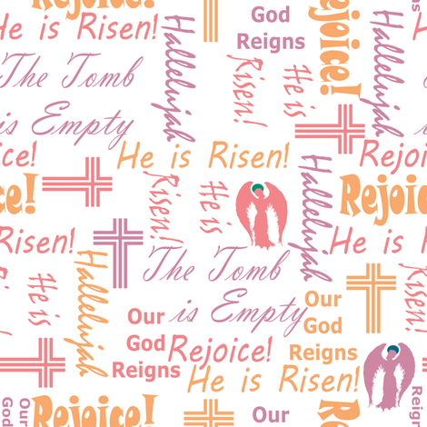 Rejoice angels pink and orange fabric by pamelachi on Spoonflower - custom fabric