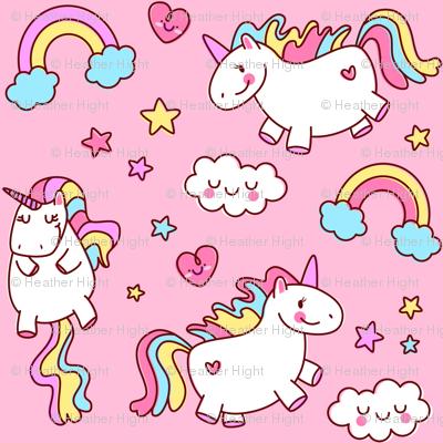 Fat Unicorn Pink Girls Cute Bedroom Decor Nursery Fabric