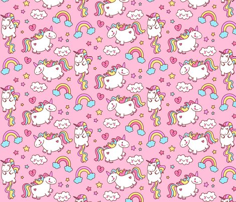 Fat Unicorn Pink Girls Cute Bedroom Decor Nursery