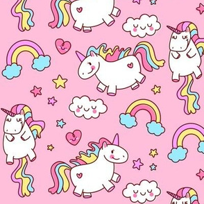 Fat Unicorn Pink // Girls Cute Bedroom Decor Nursery