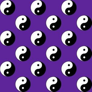 One Inch Black and White Yin Yang Symbols on Purple