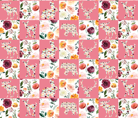 "Floral Animal Silhouettes Wholecloth Quilt 6"" Squares PINK fabric by greenmountainfabric on Spoonflower - custom fabric"