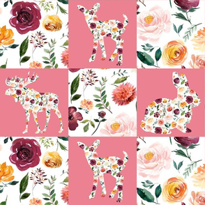 "Floral Animal Silhouettes Wholecloth Quilt 6"" Squares PINK"