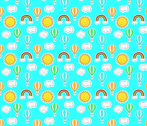 Rainbows and Happy Clouds Blue fabric by littlefancypants on Spoonflower - custom fabric