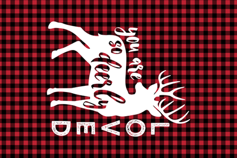 MINKY layout - You are so deerly loved - buffalo plaid fabric by littlearrowdesign on Spoonflower - custom fabric