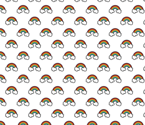 Sketched Rainbow White fabric by littlefancypants on Spoonflower - custom fabric