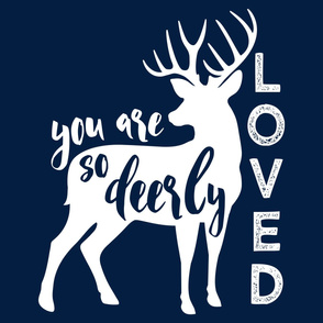 "27"" layout - You are so deerly loved - navy"