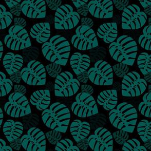 Monstera green on black medium