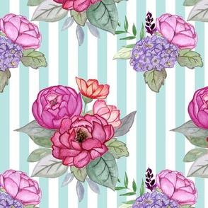 Watercolour floral on mint stripes MEDIUM