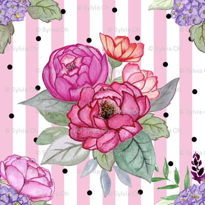 Watercolour floral on pink stripes and polka dots MEDIUM