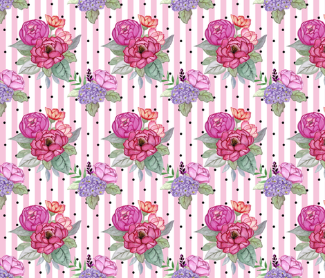 Watercolour floral on pink stripes and polka dots MEDIUM fabric by sylviaoh on Spoonflower - custom fabric