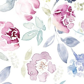Watercolour Florals Vintage Faded Style on White LARGE 90° clockwise