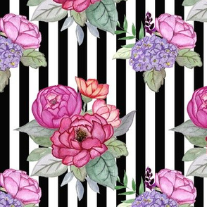 Watercolour floral on stripe MEDIUM