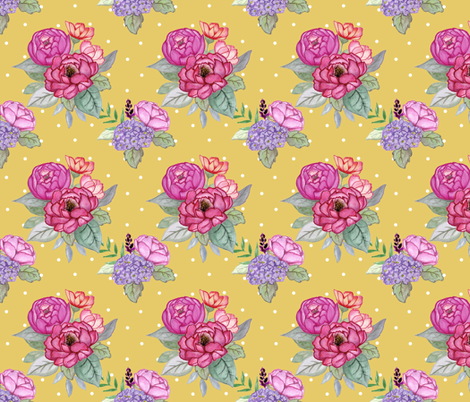 Watercolour floral on yellow with dots MEDIUM fabric by sylviaoh on Spoonflower - custom fabric