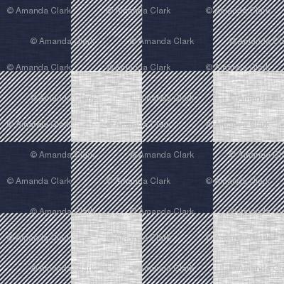 "1.75"" Navy and Grey Textured Buffalo Plaid"