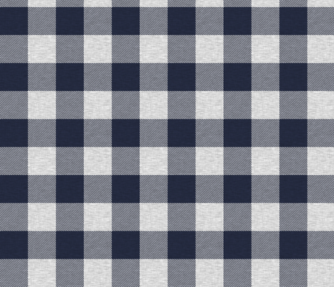 """1.75"""" Navy and Grey Textured Buffalo Plaid fabric by sugarpinedesign on Spoonflower - custom fabric"""