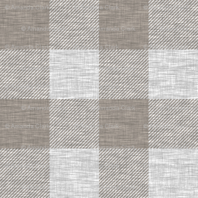 "1.75"" textured Plaid - Light Grey and Taupe"