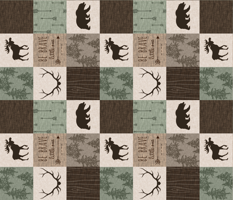 "3"" Be Brave Quilt - Green and Brown - Rotated fabric by sugarpinedesign on Spoonflower - custom fabric"