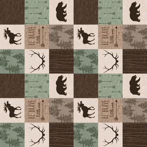 "3"" Be Brave Quilt - Green and Brown - Rotated"