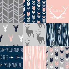 Patchwork Deer - CORAL, navy and grey