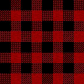 "2"" textured plaid - red and black"