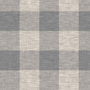 "2"" Textured Plaid - Beige and Dark Grey - Buffalo Plaid"