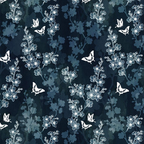 Sakura butterflies in dark blue
