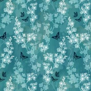 Sakura butterflies in turquoise