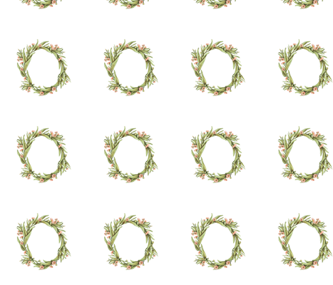 Wreath Eucalyptus, 7 inch wide, 4 inch apart fabric by thistleandfox on Spoonflower - custom fabric