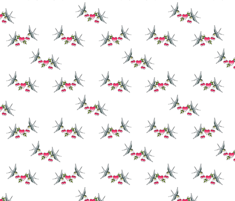 swallows and hearts tattoo fabric by natbontoftdesign on Spoonflower - custom fabric