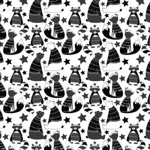 Racoon on black grey white-01