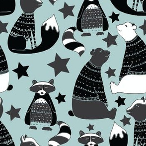 Racoons and bears on blue