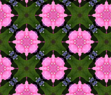 Pink Hydrangea repeat fabric by erica_lindberg_designs on Spoonflower - custom fabric